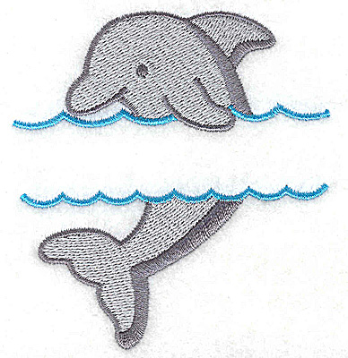 Embroidery Design: Dolphin small  3.32w X 3.56h