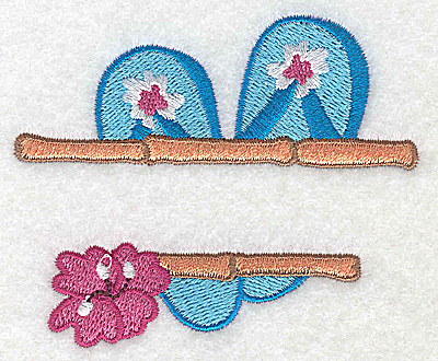 Embroidery Design: Flip-Flops small 3.40w X 2.87h