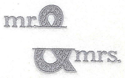 Embroidery Design: Mr. & Mrs.  Small 3.69w X 2.17h