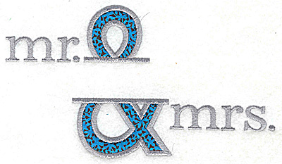 Embroidery Design: Mr. & Mrs. Large applique 6.79w X 3.90h