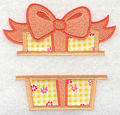 Embroidery Design: Present box with bow small 3.66w X 3.48h