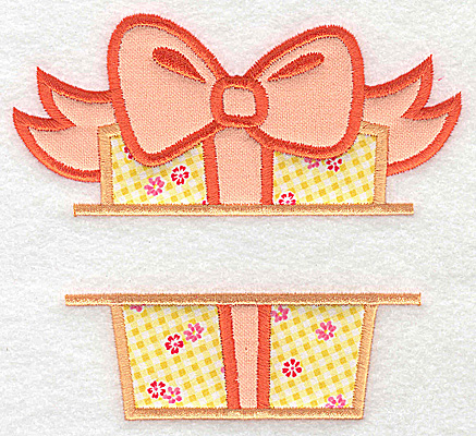 Embroidery Design: Present box with bow double applique 5.47w X 4.95h