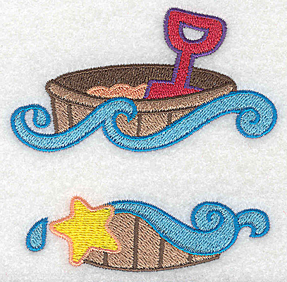 Embroidery Design: Beach pail and shovel small 3.51w X 3.53h
