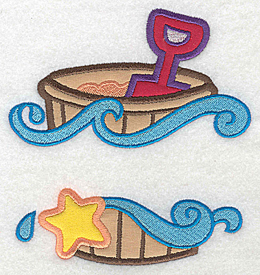 Embroidery Design: Beach pail and shovel large applique 5.26w X 4.91h