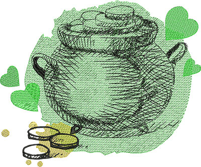Embroidery Design: St Patricks Pot of Gold 9.45w X 7.81h
