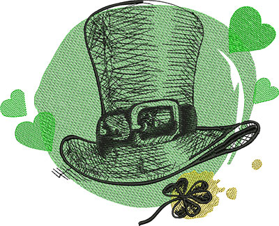 Embroidery Design: St Patricks Leprechaun Hat  9.67w X 7.85h