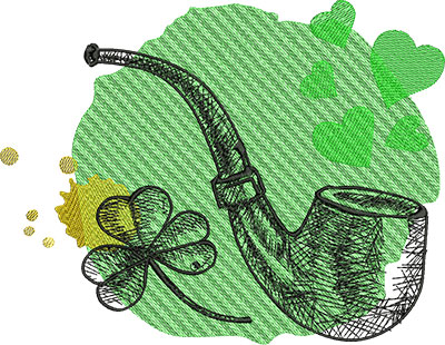 Embroidery Design: St Patricks Pipe 9.85w X 7.63h