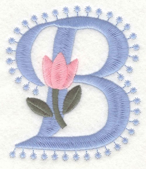 Embroidery Design: B Large3.51inH x 3.08inW