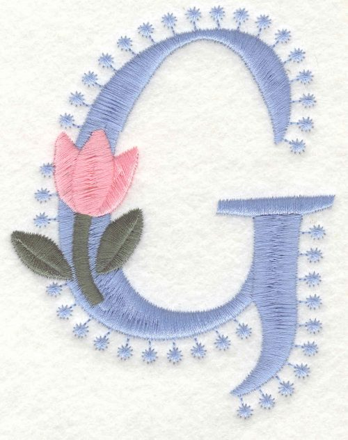 Embroidery Design: G Large4.10inH x 3.20inW