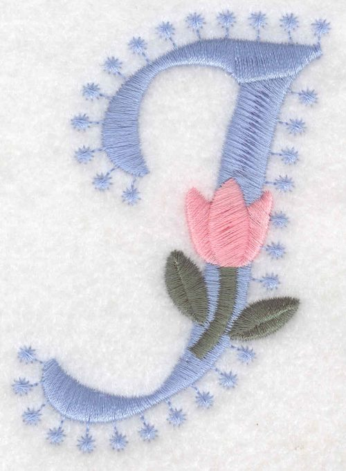 Embroidery Design: J Large3.53inH x 2.34inW