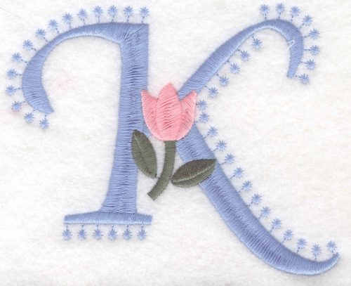 Embroidery Design: K Large3.98inH x 4.98inW