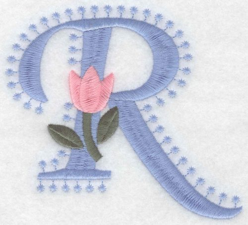 Embroidery Design: R Large3.94inH x 4.31inW