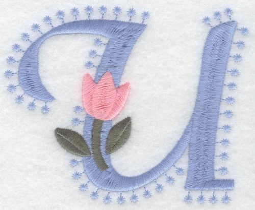 Embroidery Design: U Large3.52inH x 4.29inW