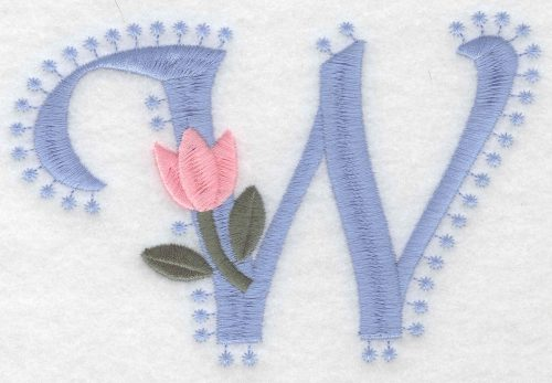 Embroidery Design: W Large3.50inH x 5.40inW