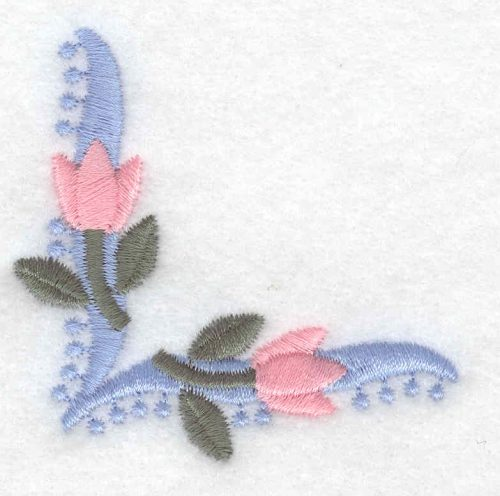 Embroidery Design: Floral tulip corner small2.31inH x 2.31inW
