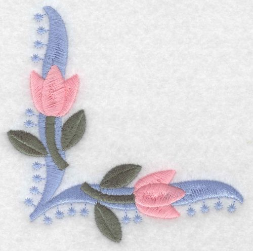 Embroidery Design: Floral tulip corner large4.04inH x 4.03inW