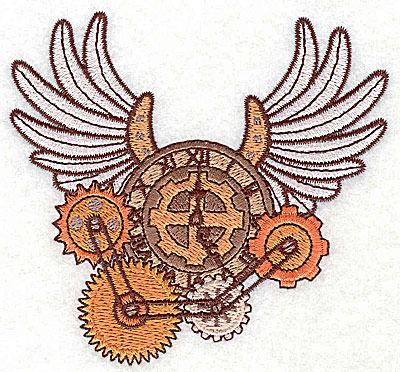 Embroidery Design: Steampunk clock with wings small 3.89w X 3.62h