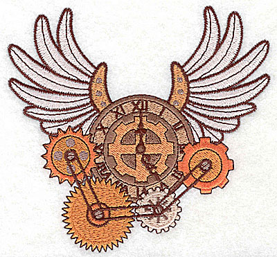 Embroidery Design: Steampunk clock with wings large 4.97w X 4.63h