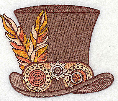 Embroidery Design: Steampunk top hat with feathers small 3.82w X 3.11h