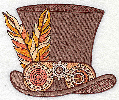 Embroidery Design: Steampunk top hat with feathers large 4.96w X 4.04h