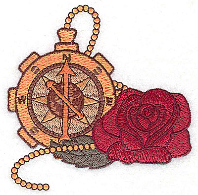 Embroidery Design: Steampunk compass and rose small 3.79w X 3.81h