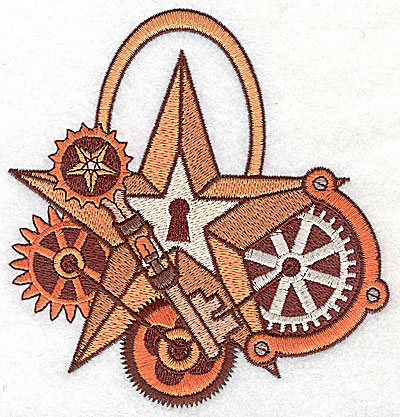 Embroidery Design: Steampunk star with gears large 4.78w X 4.98h