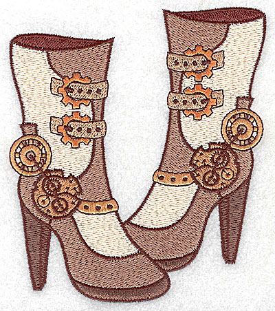 Embroidery Design: Steampunk ladies boots large 4.28w X 4.94h