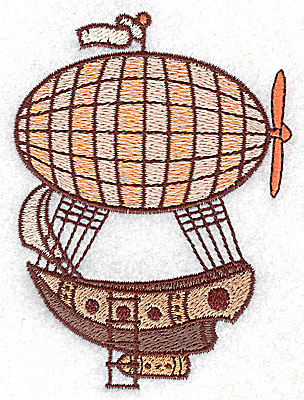Embroidery Design: Steampunk ship with hot air balloon small 2.85w X 3.86h
