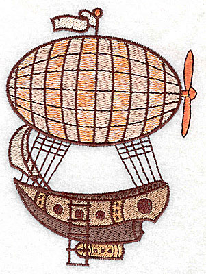 Embroidery Design: Steampunk ship with hot air balloon large 3.64w X 4.93h
