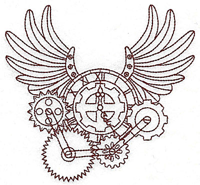 Embroidery Design: Steampunk clock with wings single colour 5.27w X 4.95h