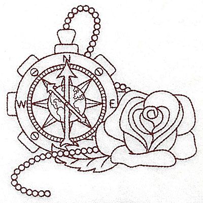 Embroidery Design: Steampunk compass and rose single colour 4.91w X 4.98h
