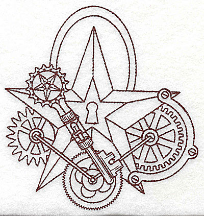 Embroidery Design: Steampunk star with gears single colour 4.74w X 4.98h