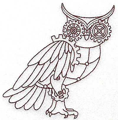 Embroidery Design: Steampunk owl single colour 4.64w X 4.96h