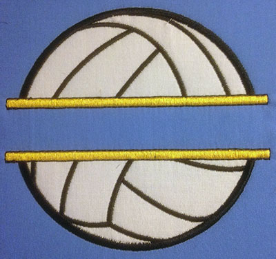 Embroidery Design: Split Applique Volleyball Large 6.52w X 6.17h