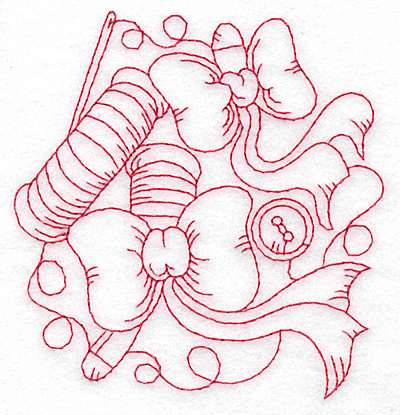 Embroidery Design: Bows and spools redwork small 3.78h X 3.69w