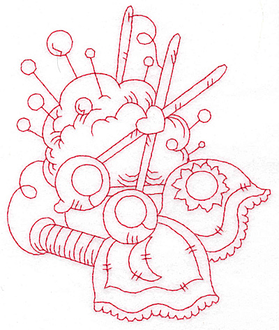 Embroidery Design: Pin cushion and scissors redwork large 4.77w X 5.68h