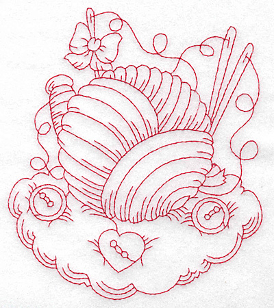 Embroidery Design: Ball of wool redwork large 4.82w X 5.55h
