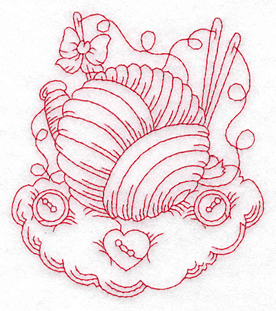 Embroidery Design: Ball of wool redwork medium 4.02w X 4.62h
