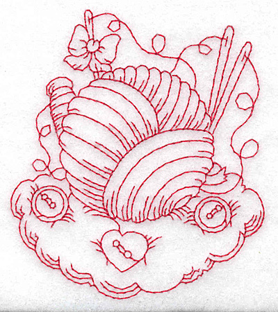 Embroidery Design: Ball of wool redwork small 3.21w X 3.70h