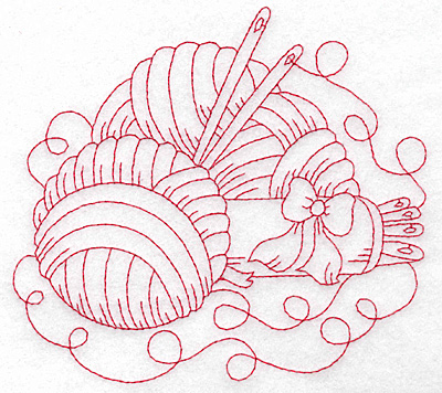 Embroidery Design: Wool and ribbon redwork large 5.61w X 5.04h