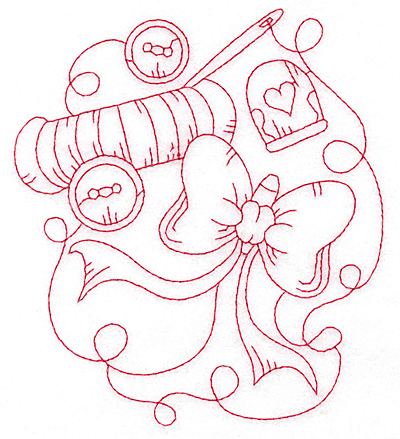 Embroidery Design: Buttons and bows redwork large 4.97wX 5.66h