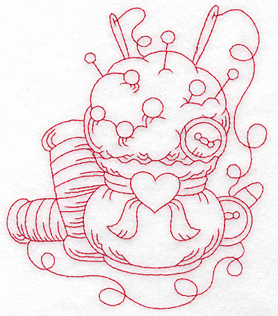 Embroidery Design: Pin cushion and thread redwork large 4.75w X 5.64h