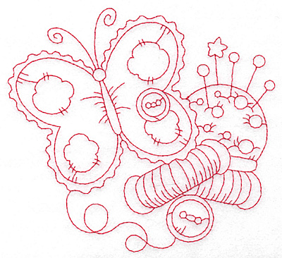 Embroidery Design: Butterfly and pin cushion redwork large 5.65w X 5.20h