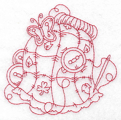 Embroidery Design: Quilt redwork small 3.75w X 3.73h