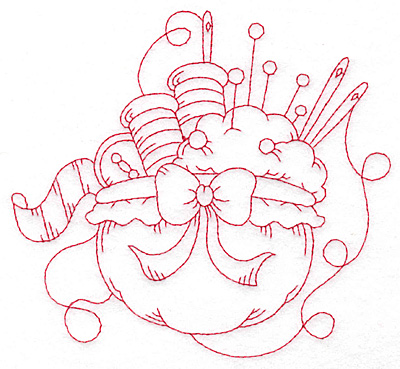 Embroidery Design: Sewing supplies redwork large 5.60wX 5.12h