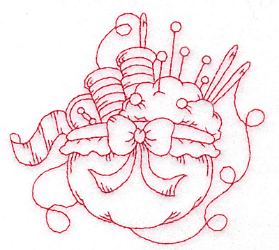 Embroidery Design: Sewing supplies redwork small 3.73w X 3.41h