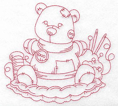 Embroidery Design: Teddy bear redwork large 5.68w X 5.18h