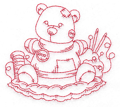 Embroidery Design: Teddy bear redwork small 3.78w X 3.45h