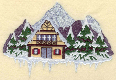 Embroidery Design: Chalet mountains evergreens applique6.97w X 4.89h