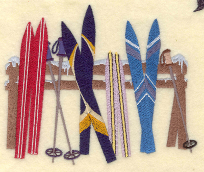 Embroidery Design: Skis and poles on fence6.13w X 4.99h